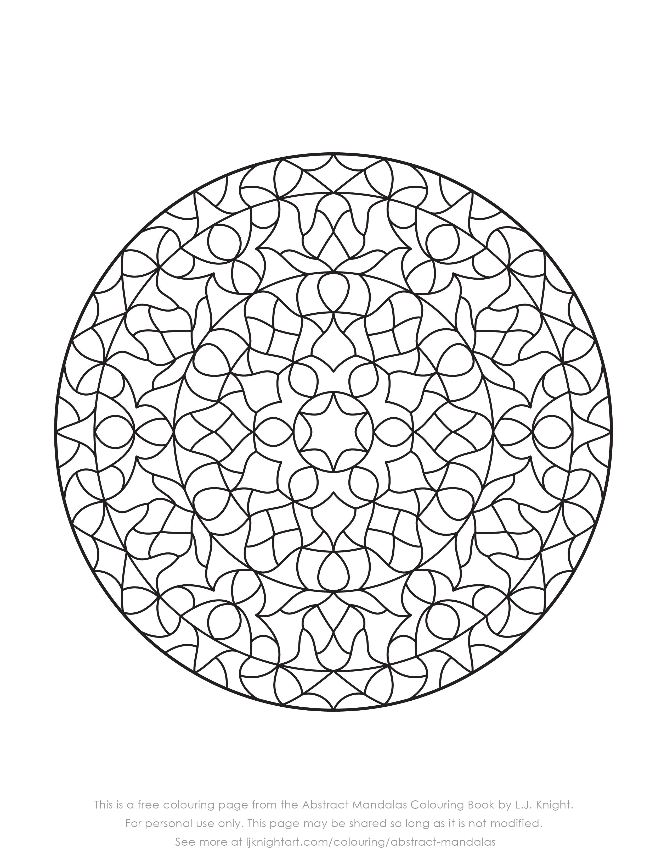 Free Abstract Mandala Colouring Page Download | L.J. Knight