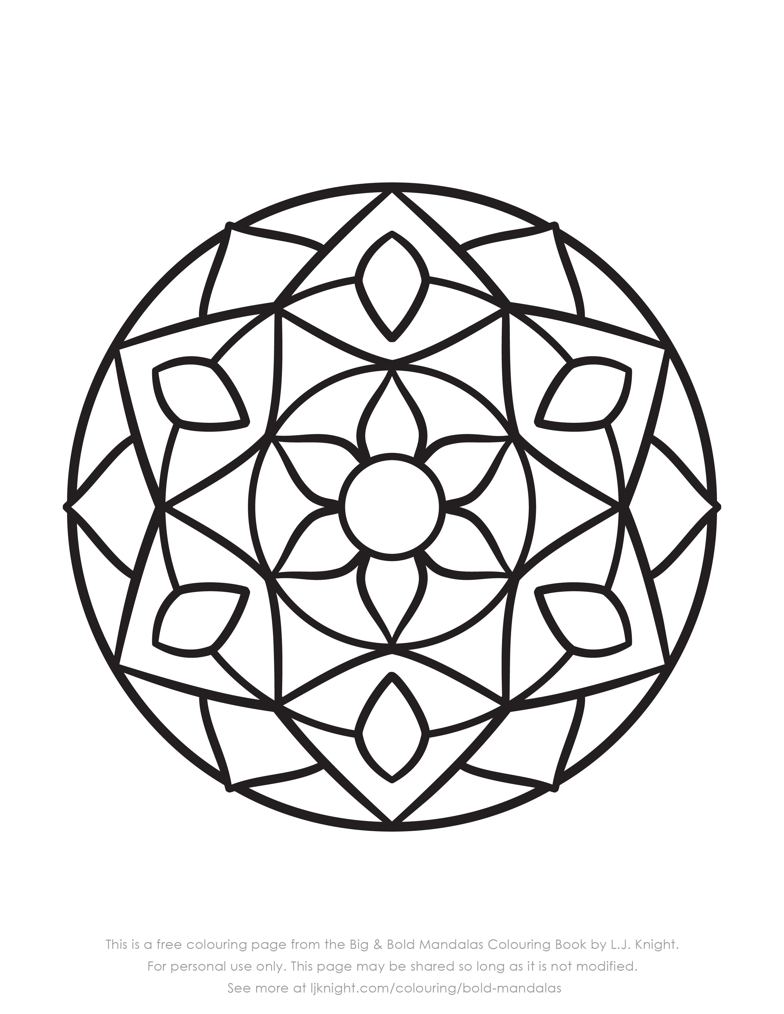 Free Easy Bold Mandala Colouring Page Download L J Knight
