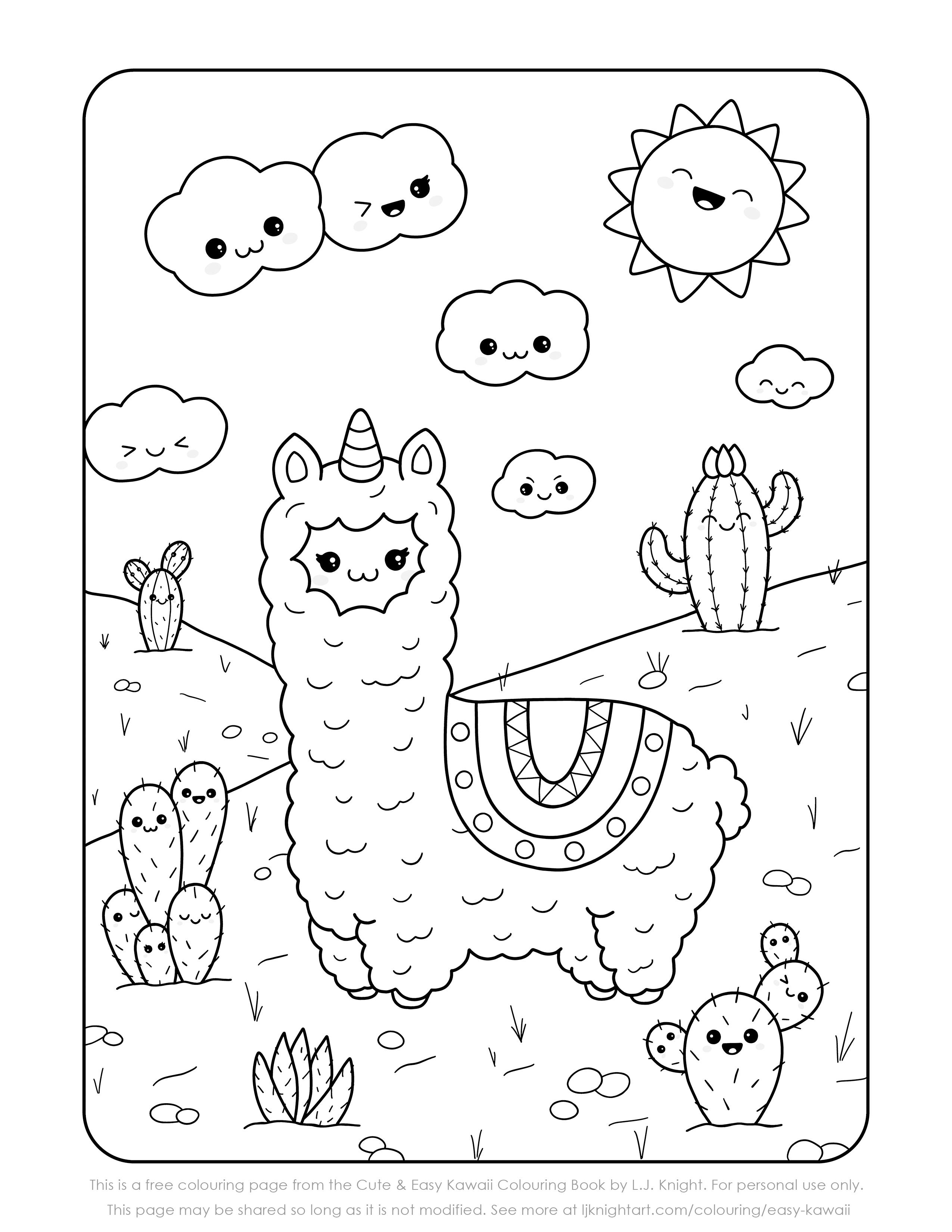 Free Cute Kawaii Llama Printable Colouring Page | L.J. Knight