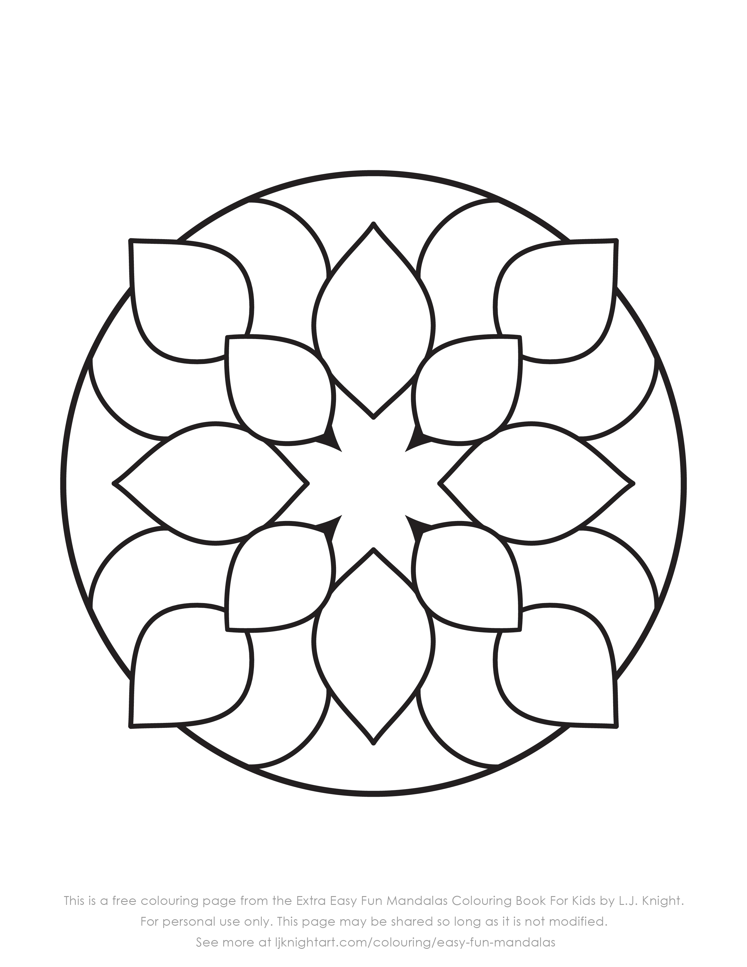 free very simple mandala colouring page for kids download l j knight. Black Bedroom Furniture Sets. Home Design Ideas