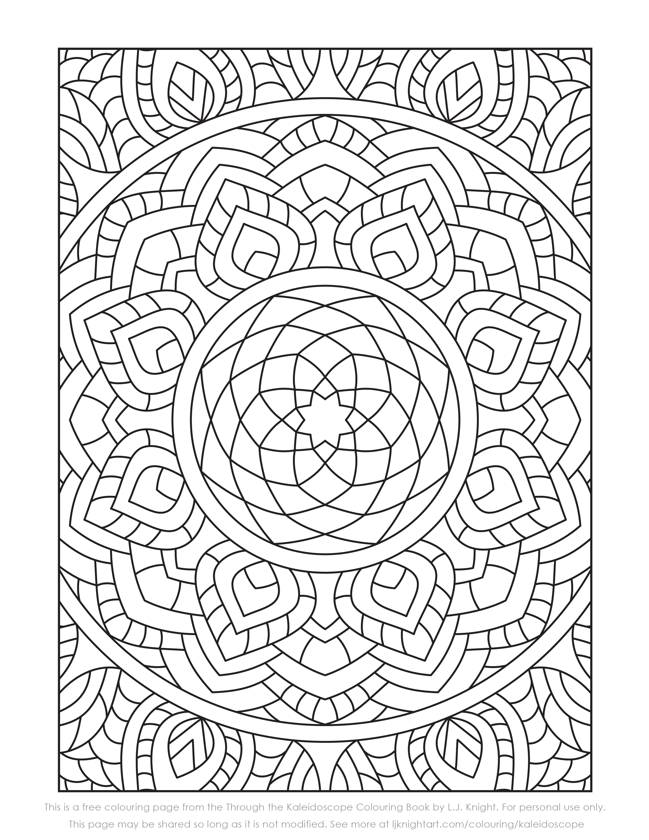 Free Kaleidoscope Colouring Page Download   L.J. Knight