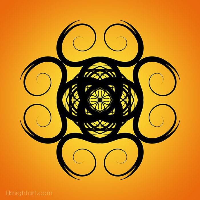 Black mandala on yellow and orange gradient background by L.J. Knight