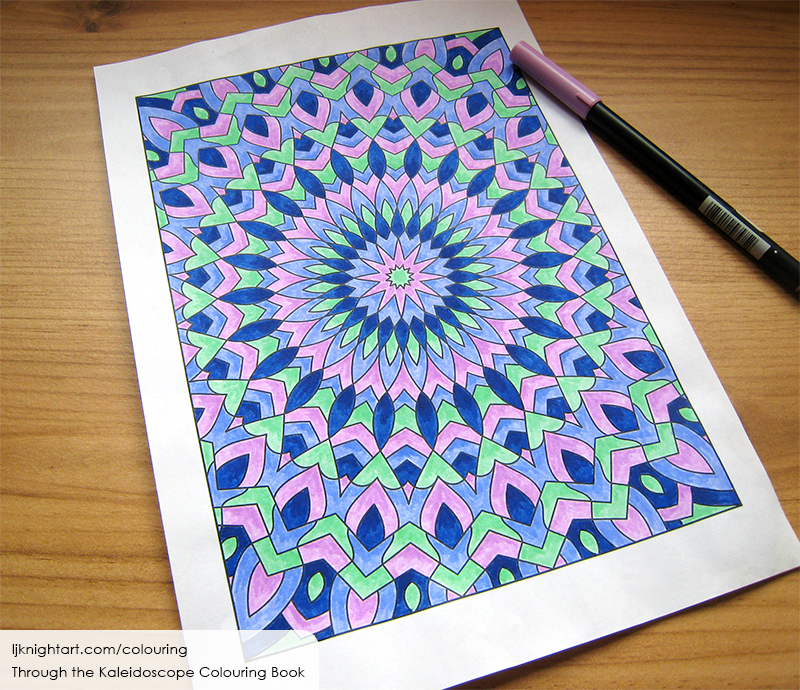 Coloured kaleidoscope colouring page