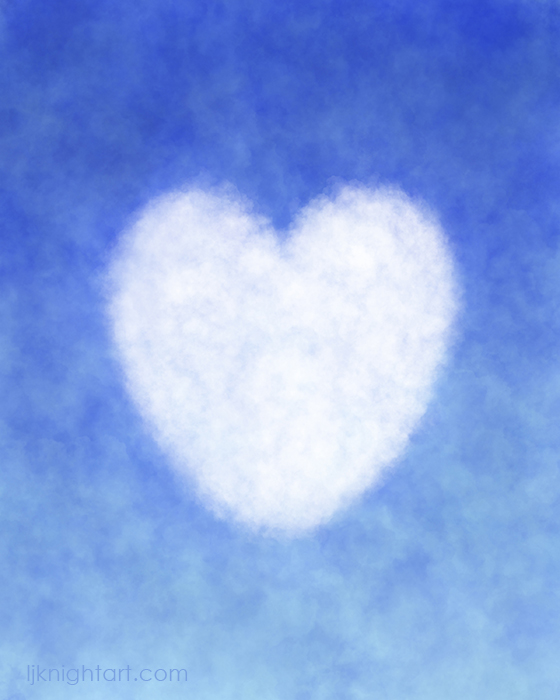 Blue and White Cloud Heart Painting by L.J. Knight