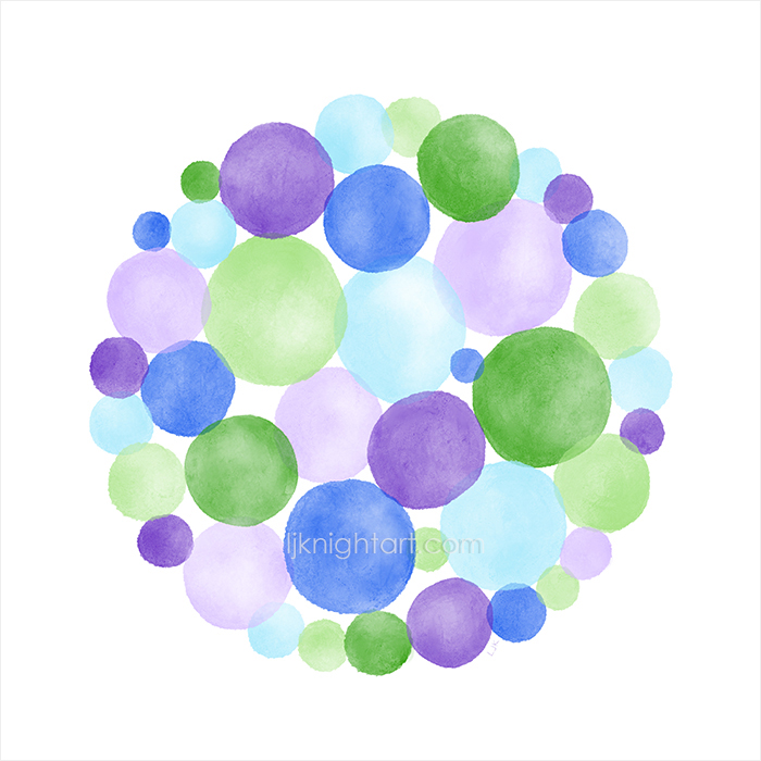 Digital watercolour abstract circles painting by L.J. Knight