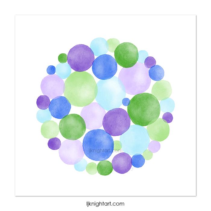 Digital watercolour abstract circles painting