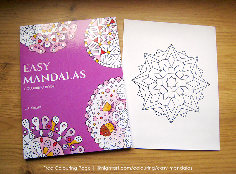 Free easy mandala colouring page