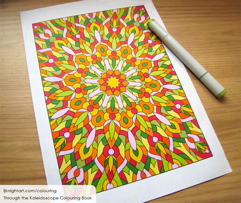 Coloured abstract kaleidoscope colouring page