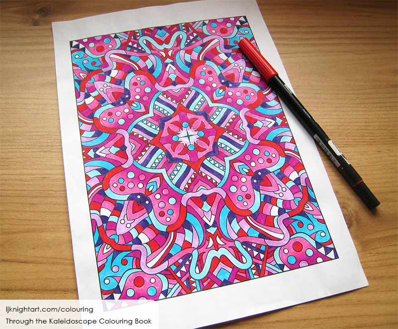 Coloured kaleidoscope colouring page in blue and pink