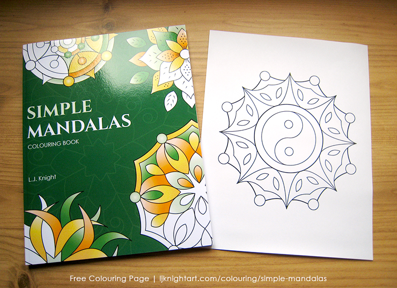 Free colouring page from the Simple Mandalas Colouring Book by L.J. Knight