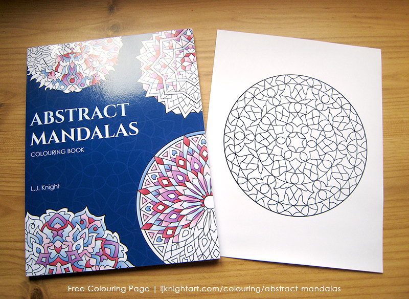 Free abstract mandala colouring page