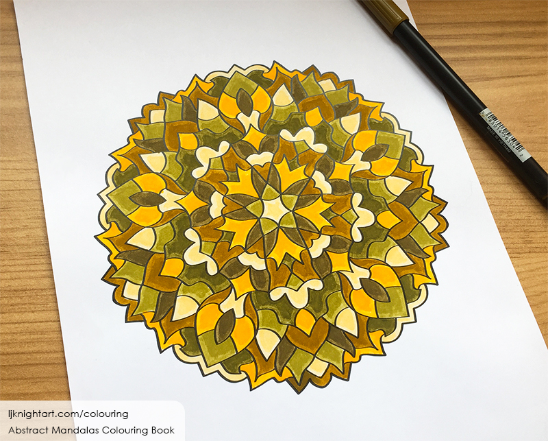 Coloured mandala colouring page for adults