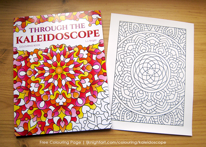 Free colouring page from the Through the Kaleidoscope Colouring Book by L.J. Knight