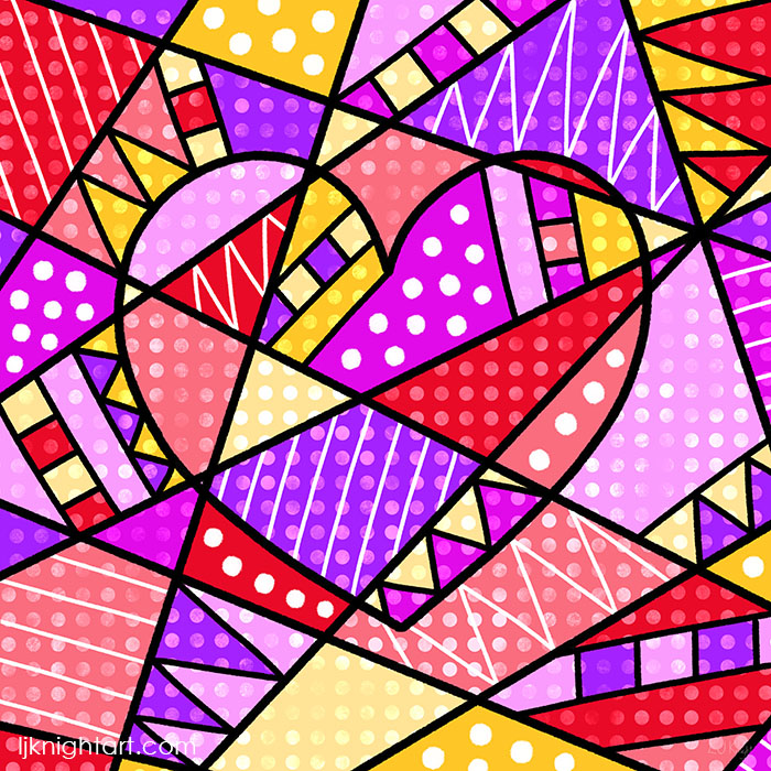 Pink, red and purple pop art heart by L.J. Knight