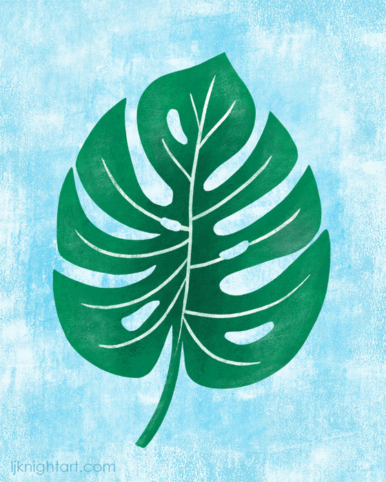 Green Monstera tropical leaf art by L.J. Knight