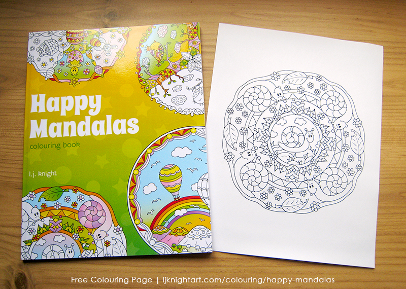 Free cute snail colouring page for kids and adults, from the Happy Mandalas Colouring Book by L.J. Knight