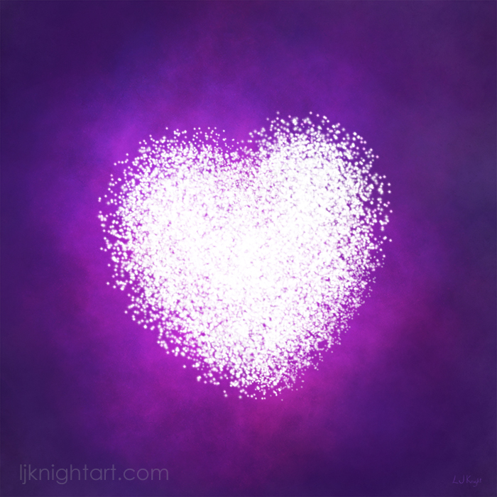 Glowing white heart art on purple night sky background by L.J. Knight