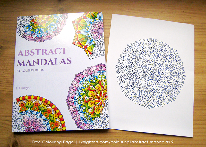 Free colouring page from the Abstract Mandalas 2 Colouring Book by L.J. Knight
