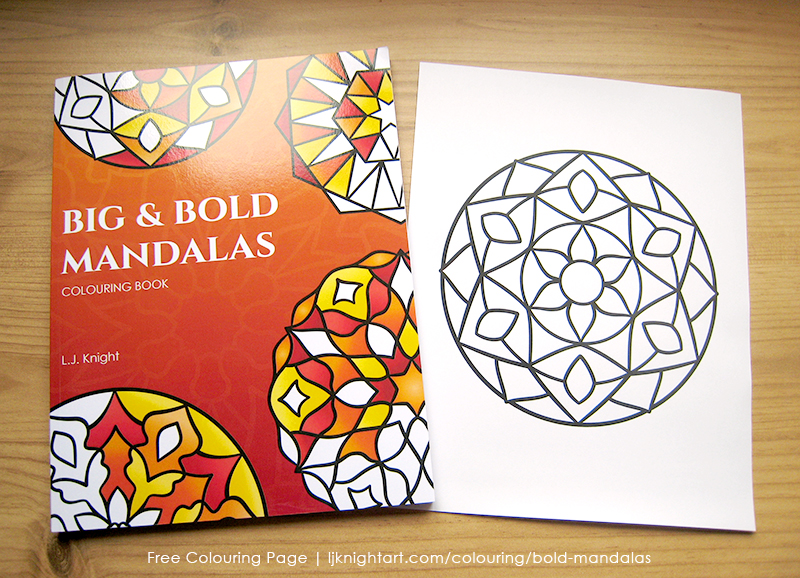 Free easy bold mandala colouring page