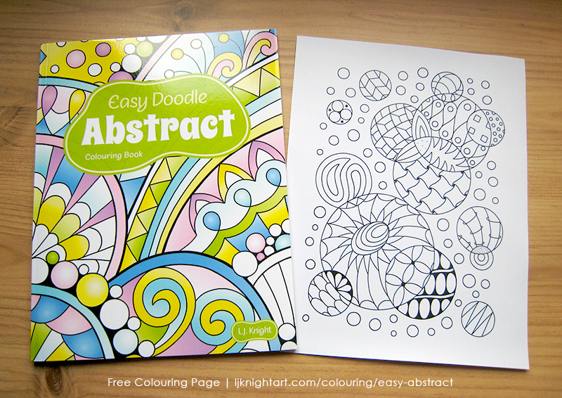 Free colouring page from the Easy Doodle Abstract Colouring Book by L.J. Knight
