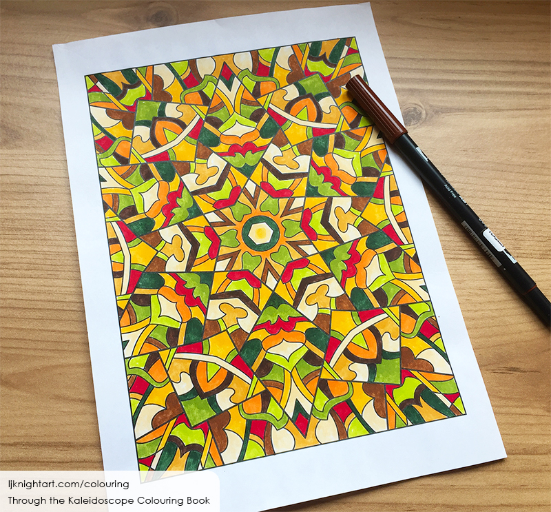 Coloured kaleidoscope adult colouring page