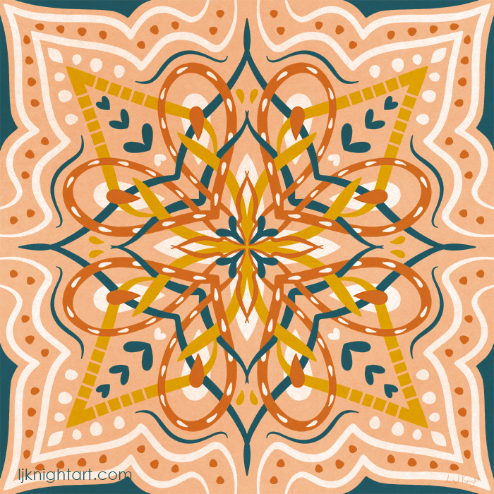 Abstract folk art mandala in brown, tan and teal green, by L.J. Knight