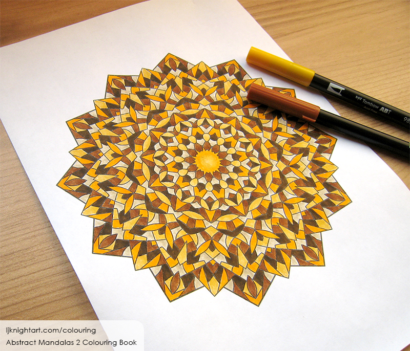 Coloured mandala adult colouring page