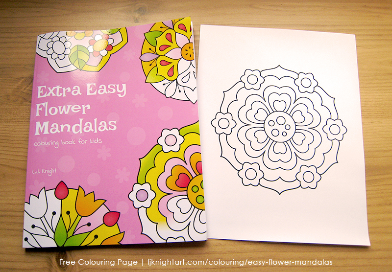 Free easy flower mandala colouring page