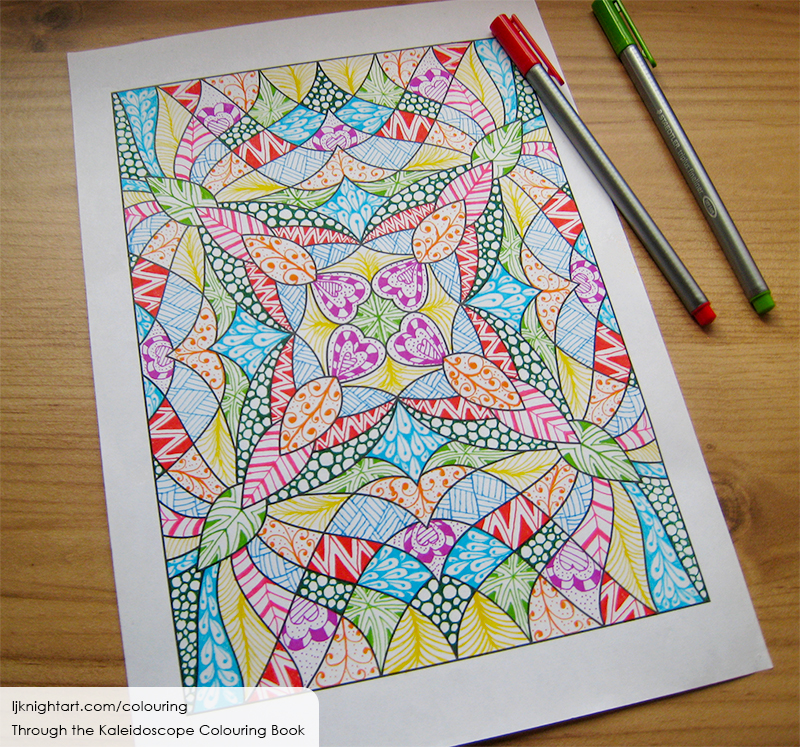 Coloured kaleidoscope colouring page with doodle patterns