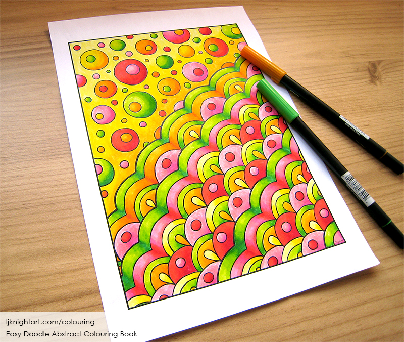 Coloured abstract doodle colouring page