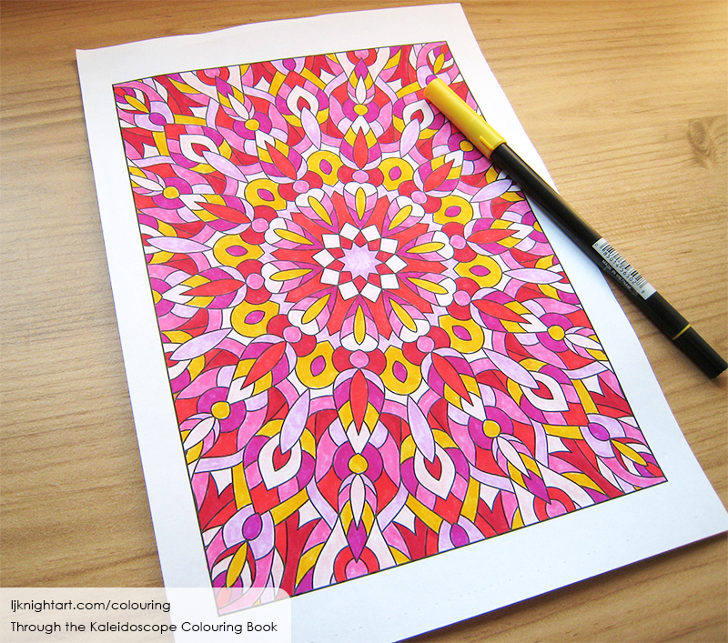 Coloured abstract kaleidoscope mandala colouring page in pink & yellow