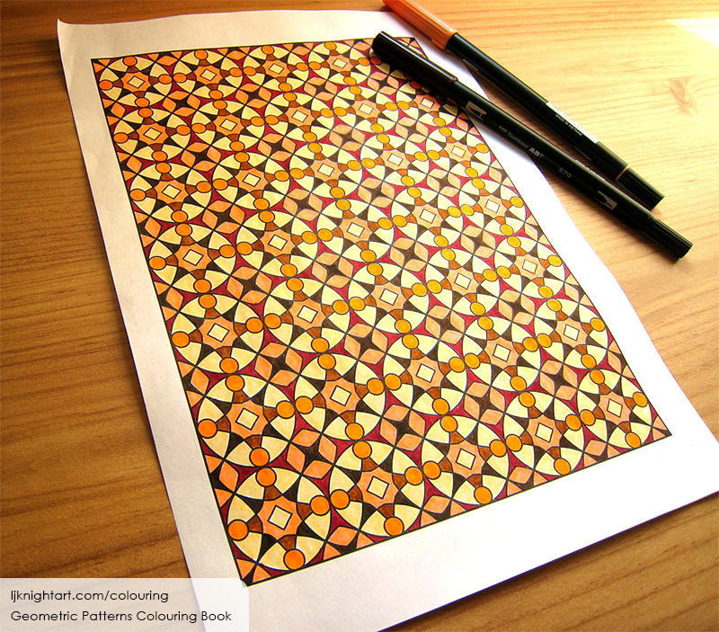 Coloured pattern adult colouring page