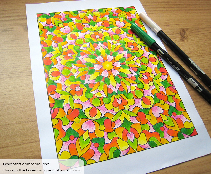 Coloured kaleidoscope colouring page  in green, pink and yellow