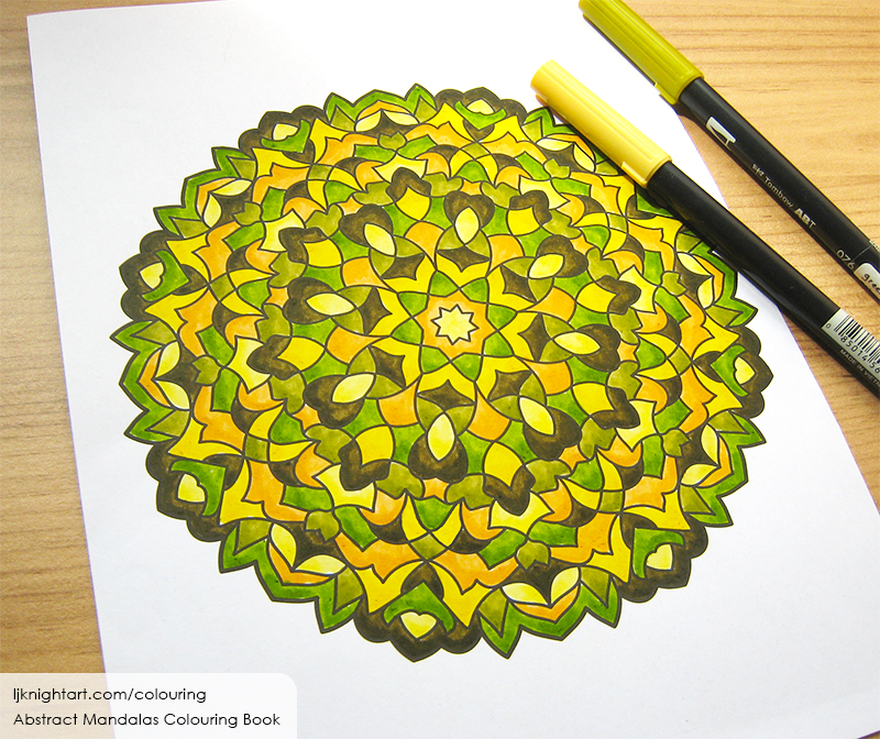 Green, orange and brown mandala colouring page