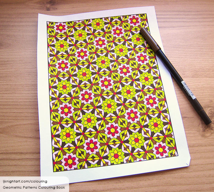 Coloured flower pattern adult colouring page
