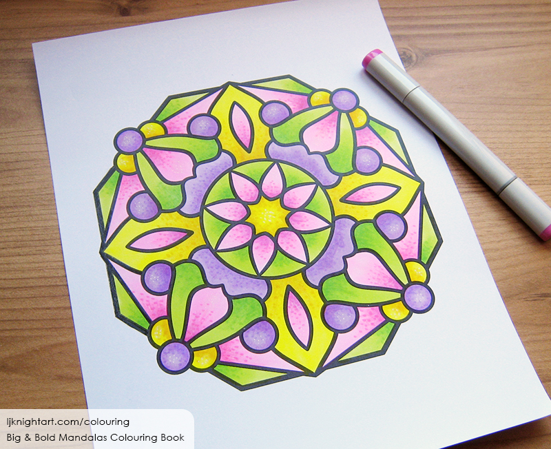 Coloured easy mandala colouring page