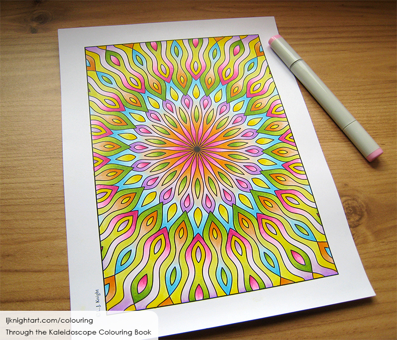 Coloured abstract kaleidoscope mandala colouring page
