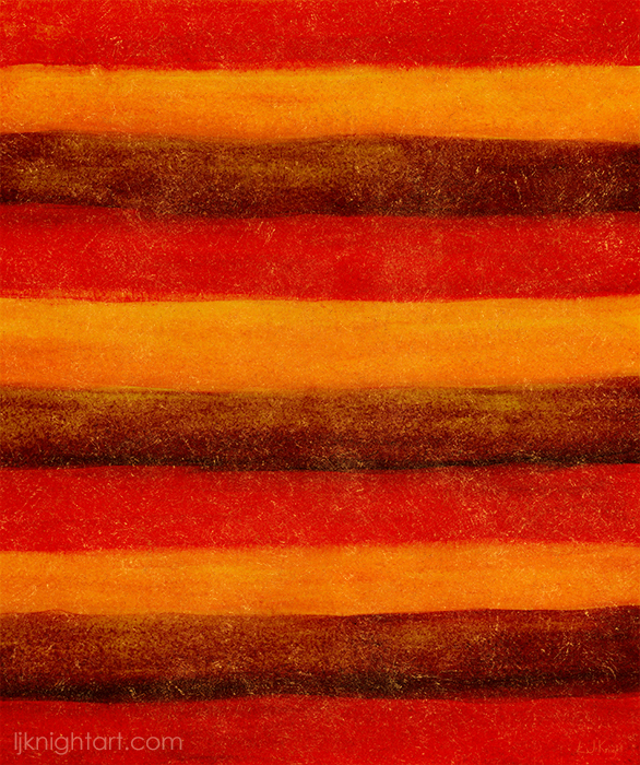 Red, yellow and brown stripes hand painted pattern by L.J. Knight
