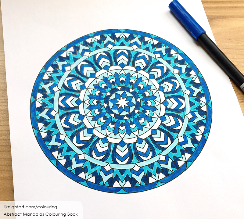 Blue and white mandala adult colouring page