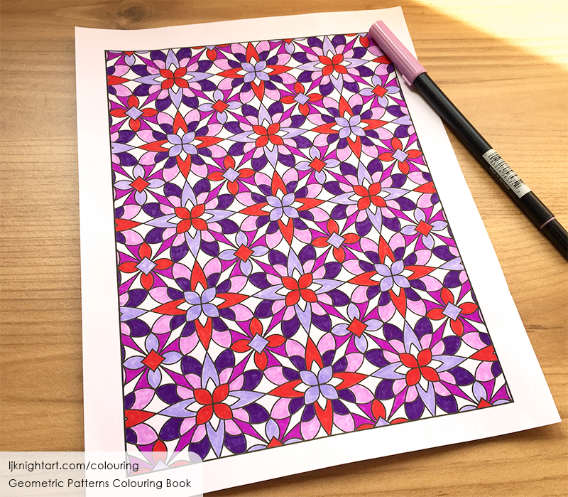 Coloured geometric pattern adult colouring page