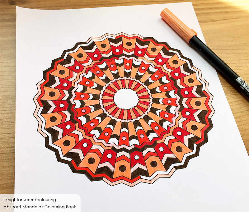 Red, peach and brown abstract mandala adult colouring page by L.J. Knight