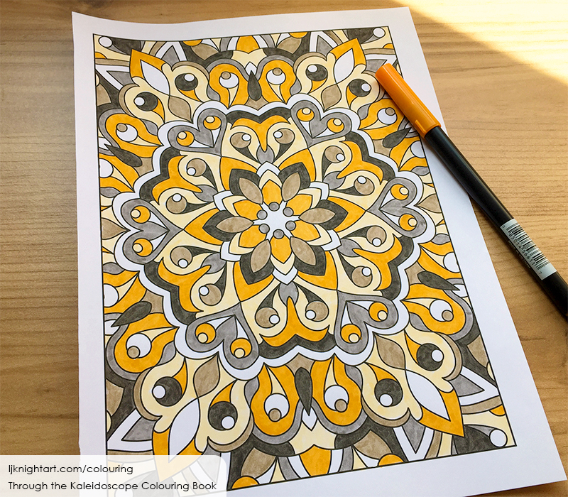 Orange and brown abstract kaleidoscope adult colouring page by L.J. Knight