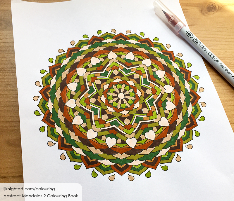 Brown and green mandala colouring page by L.J. Knight