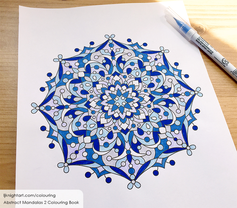 Blue and grey abstract mandala colouring page by L.J. Knight