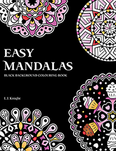 Easy Mandalas Black Background Colouring Book