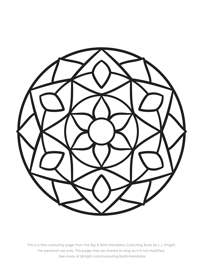 Free simple abstract mandala colouring page