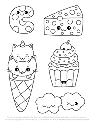 Free Cute Easy Kawaii Alphabet Letter Colouring Page
