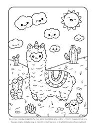 Free Cute Easy Kawaii Llama Llamacorn Colouring Page
