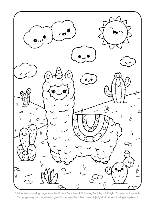 Free llama / llamacorn / alpaca cute animal colouring page