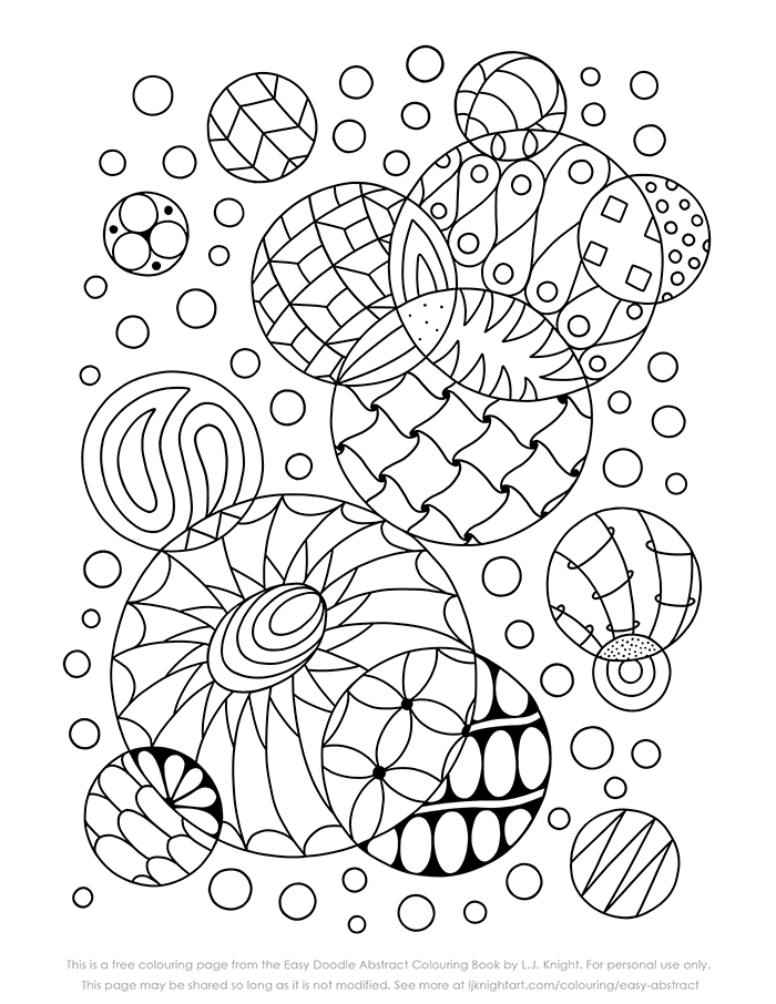 Free simple doodle abstract colouring page